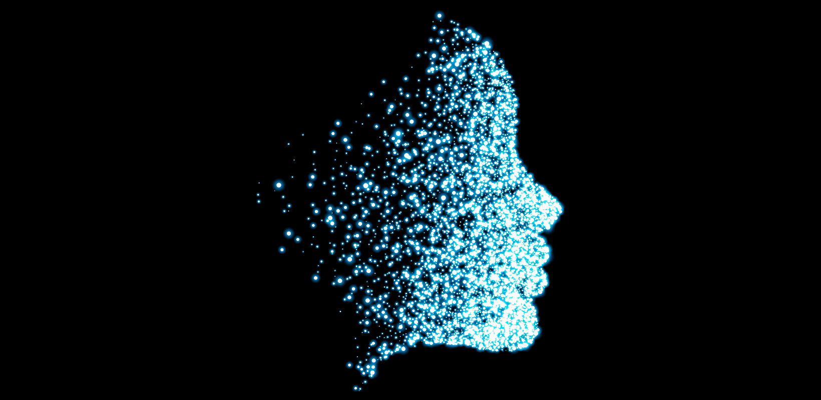 user experience design for nonprofit - image representing artificial intelligence - human head represented with points of light
