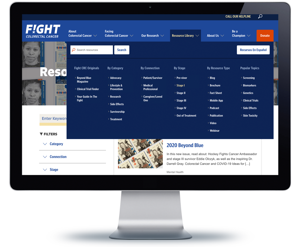 Image of the Fight Colorectal Cancer website Resources page, with the megamenu revealed