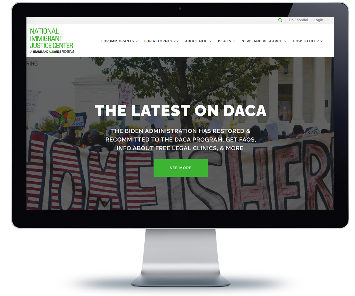 National Immigrant Justice Center website on a monitor
