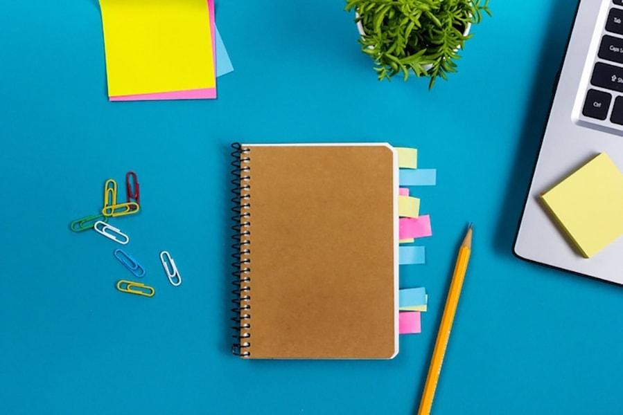 notebook on a desktop