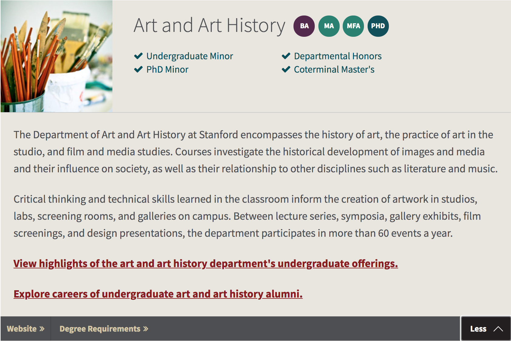 Screenshot showing the Art and Art History section of a webpage as an example of some of the design.
