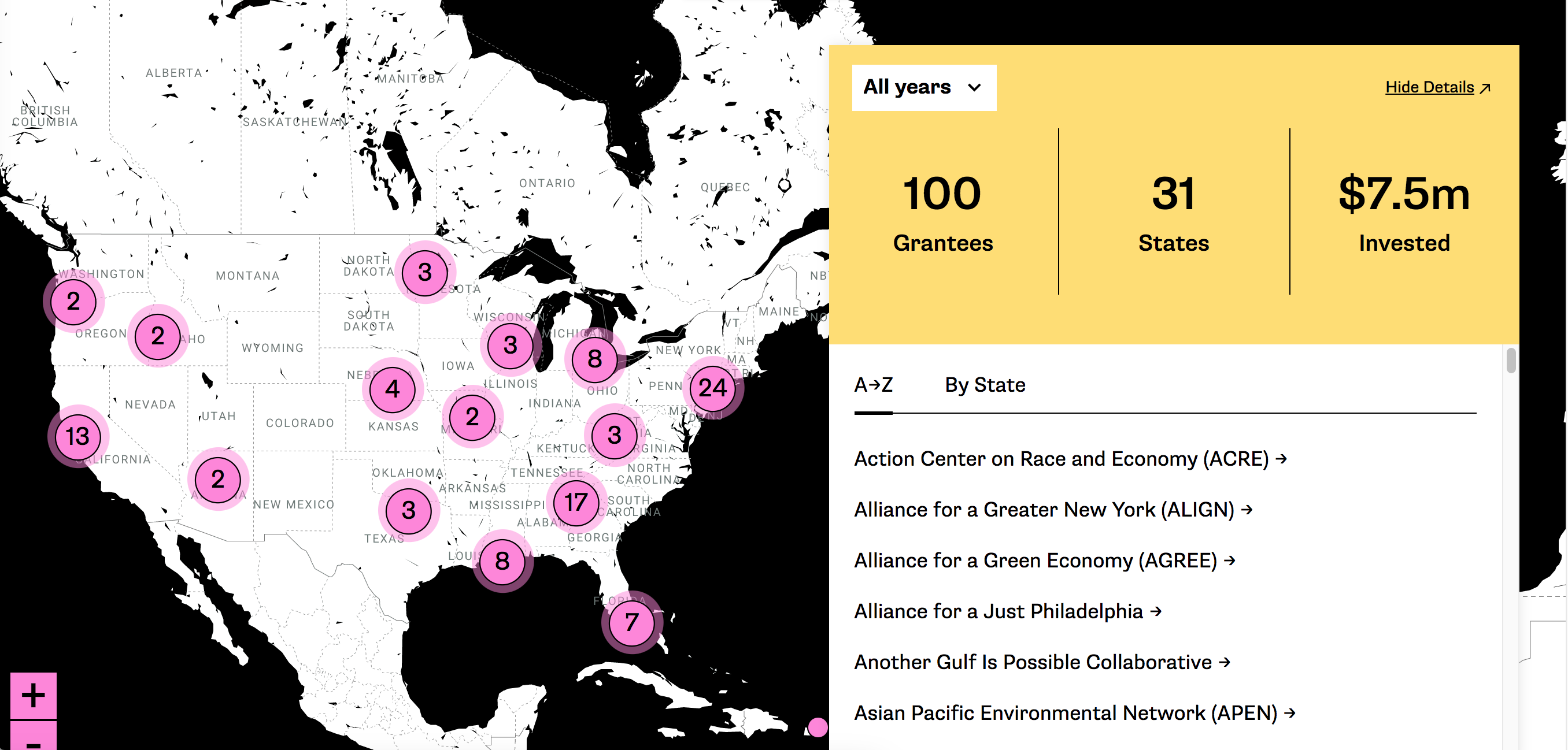 Image of an interactive map of the United States, with clickable areas, and filtering options.