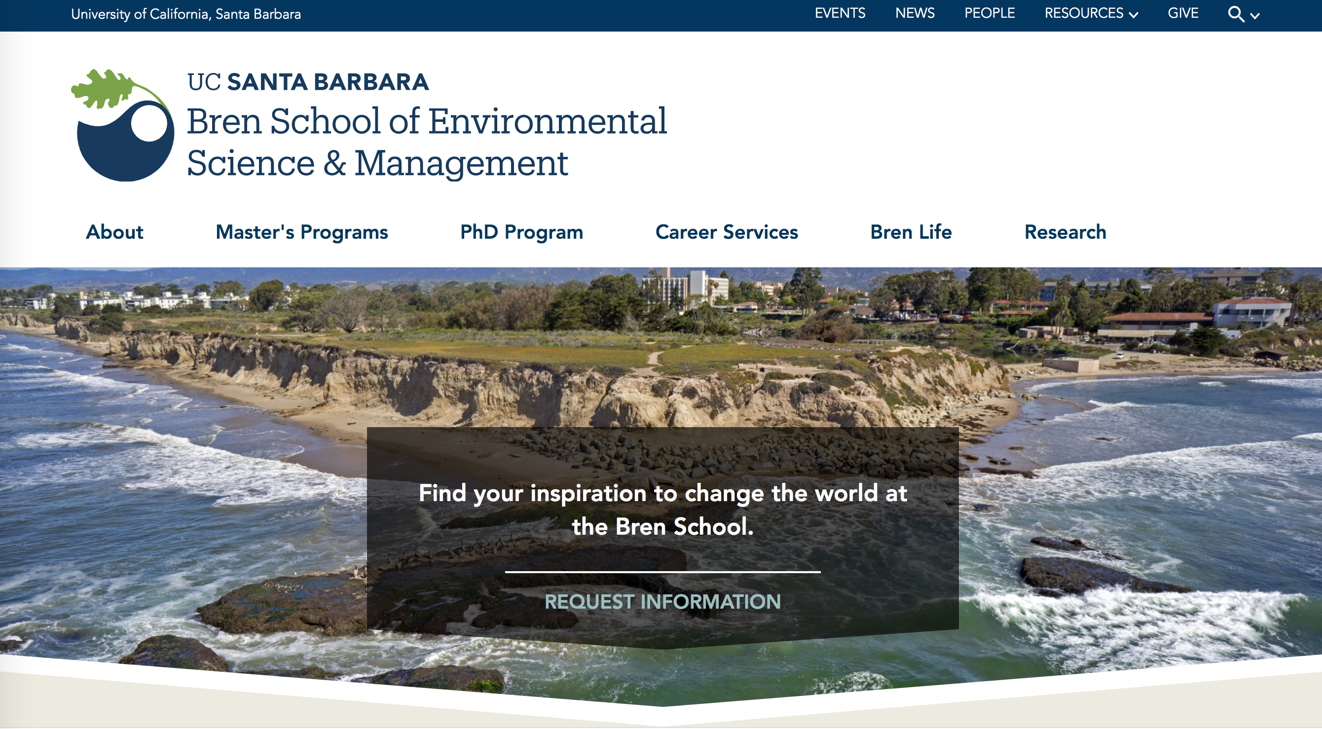 Bren School home page image