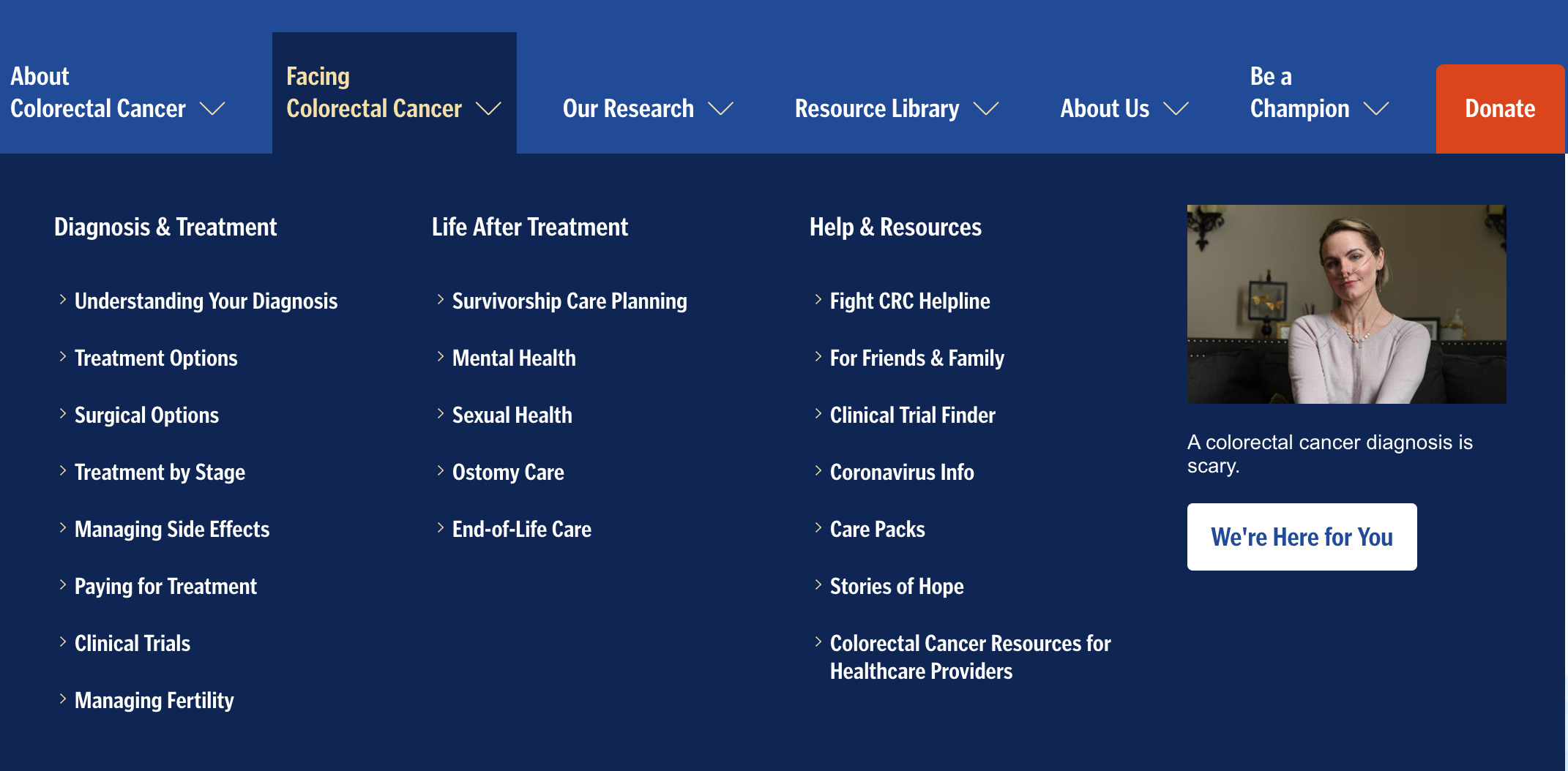 image of the expanded megamenu for the Facing Colorectal Cancer main page, showing all of the subpages links
