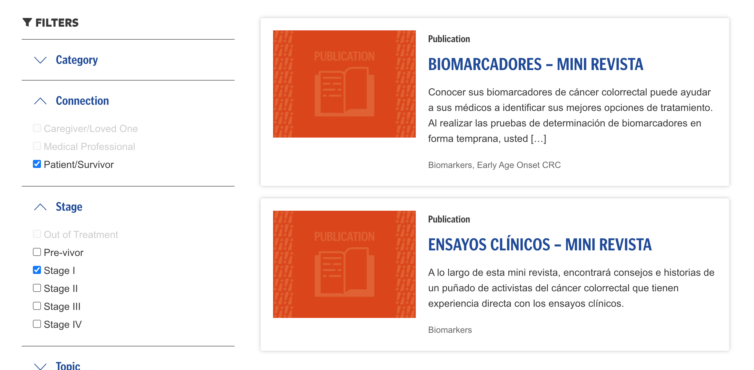 Spanish language items shown in the Resource Library