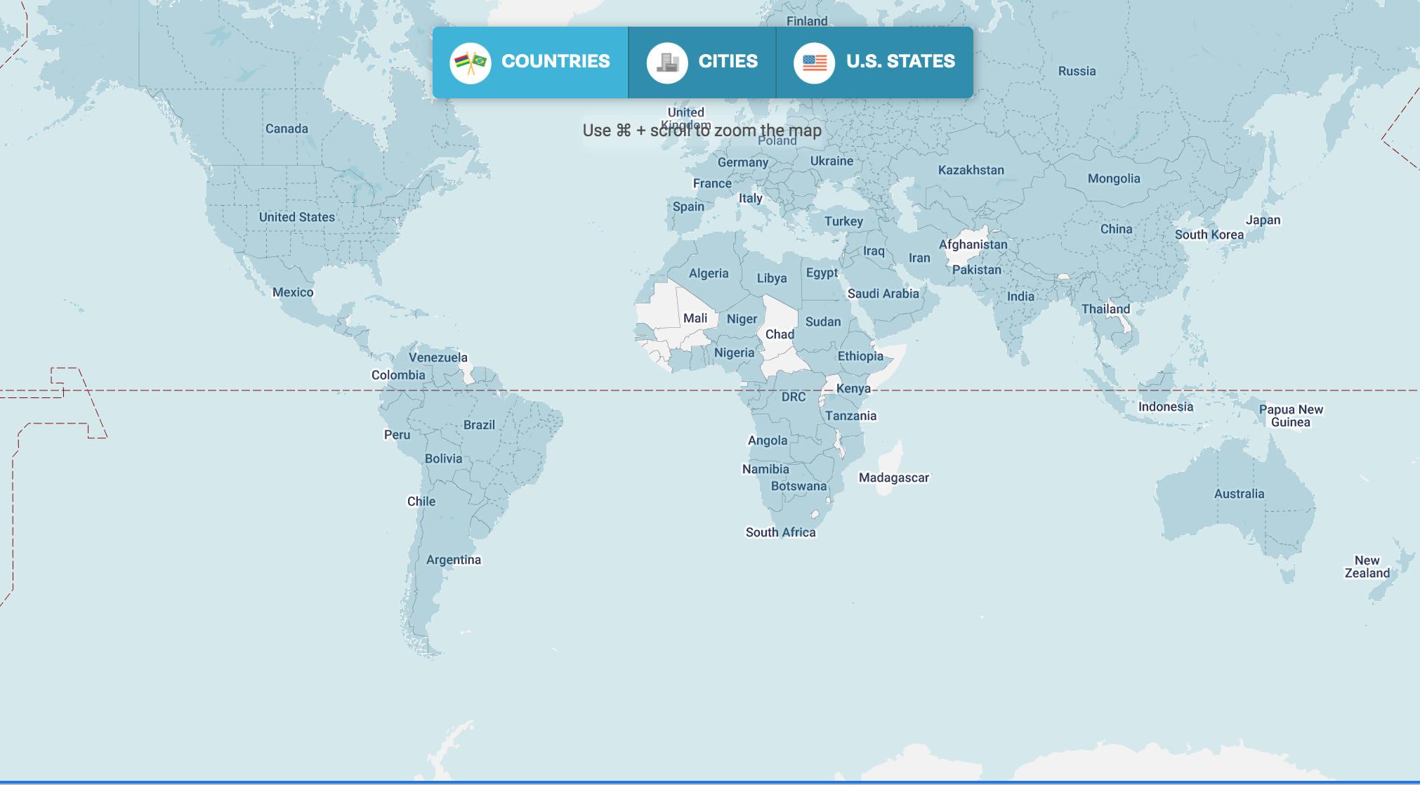 Image of customized world map showing the names of al the countries.