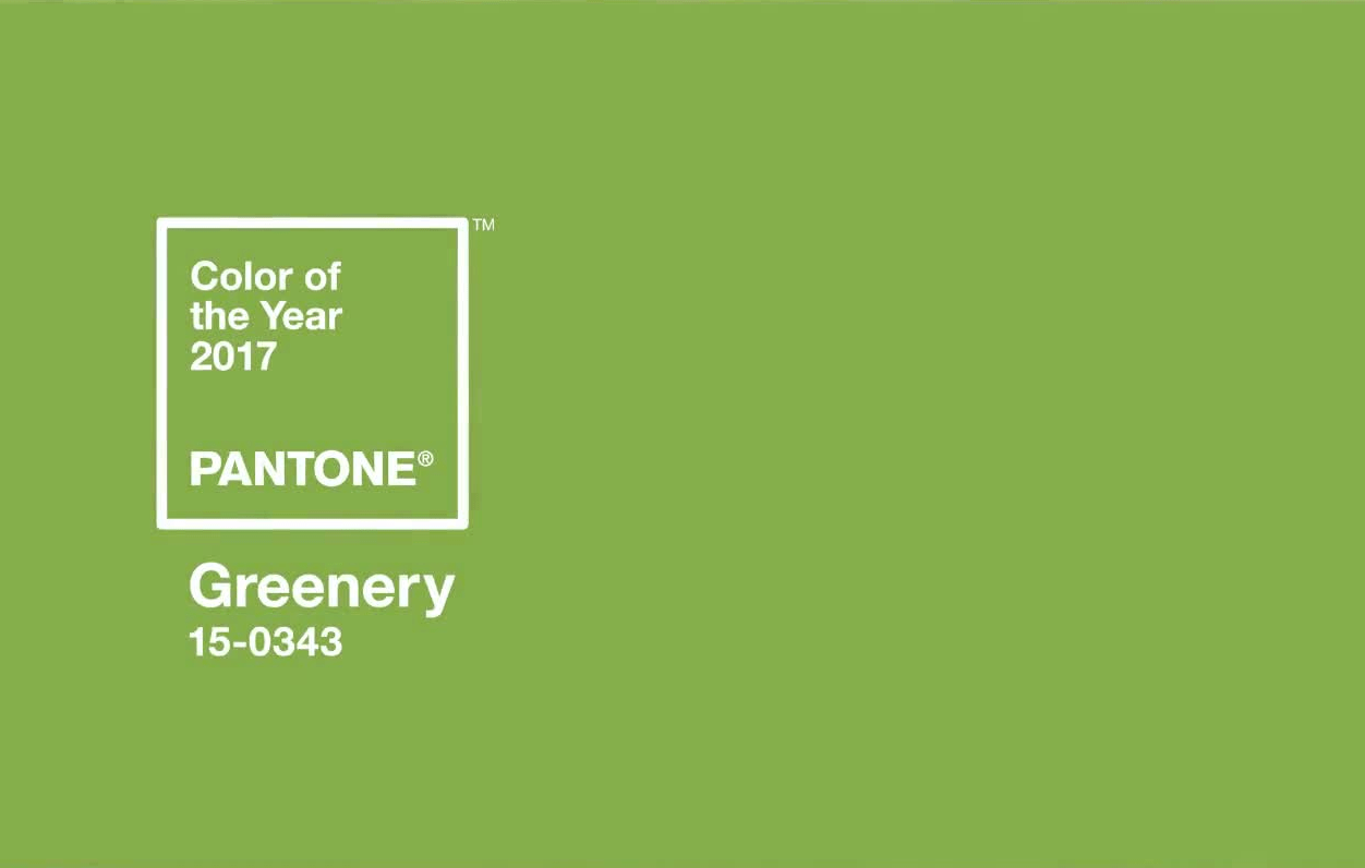 swatch of Pantone's color of the year, a sap green color