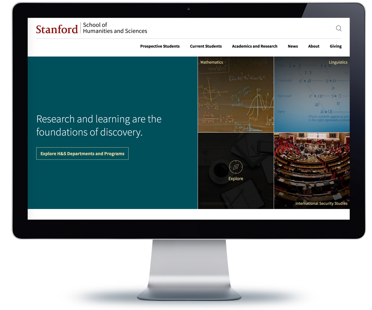 Stanford Humanities and Sciences Department website home page on a monitor