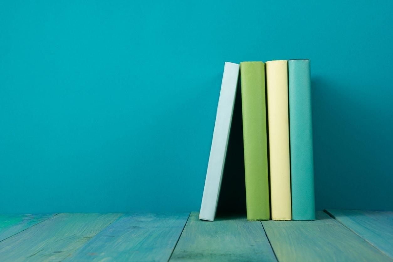 4 books on a shelf