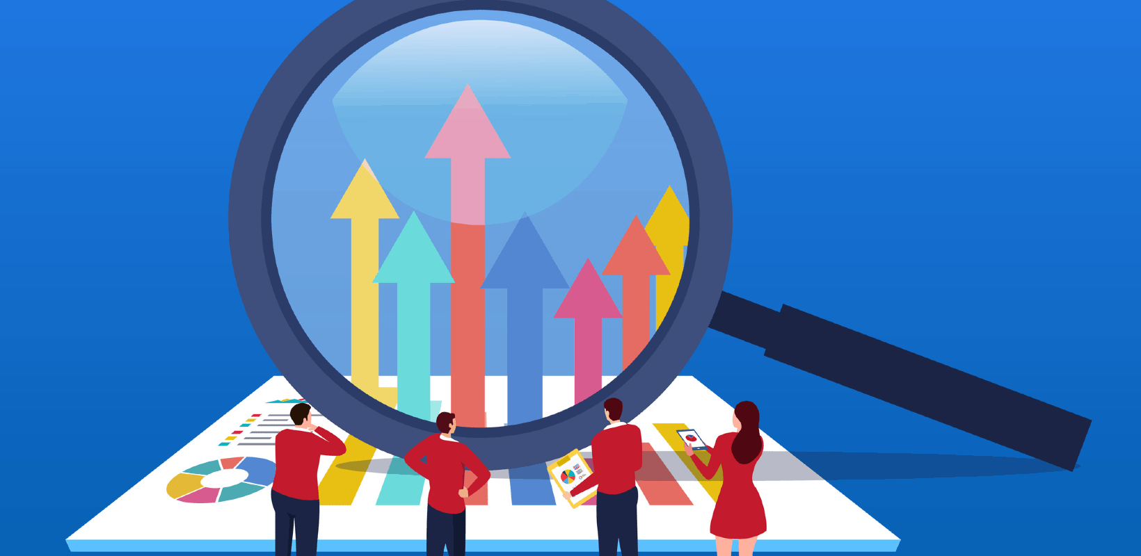 An illustration of people looking at a chart through a giant magnifying glass.