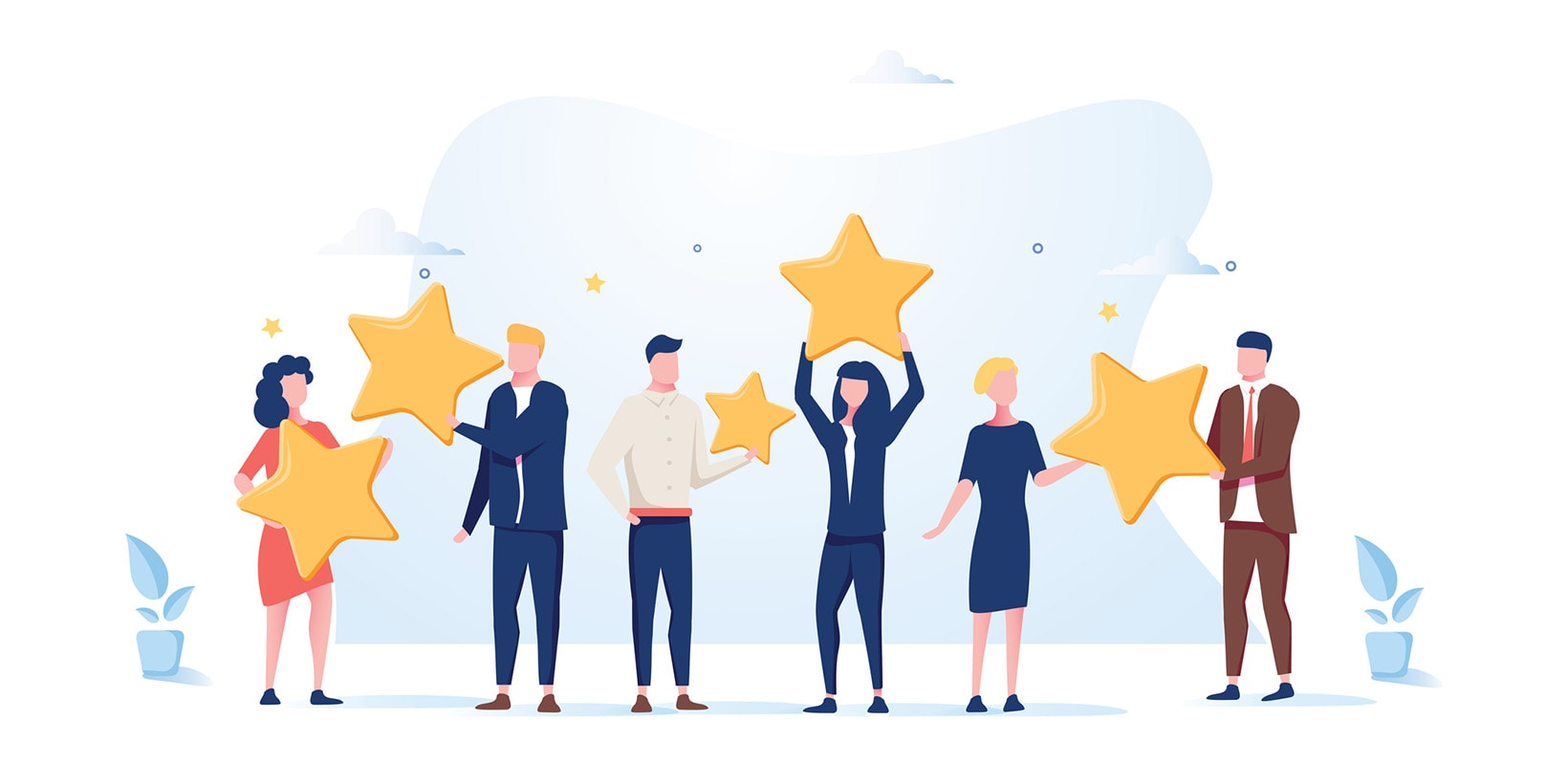 An illustration of people receiving awards