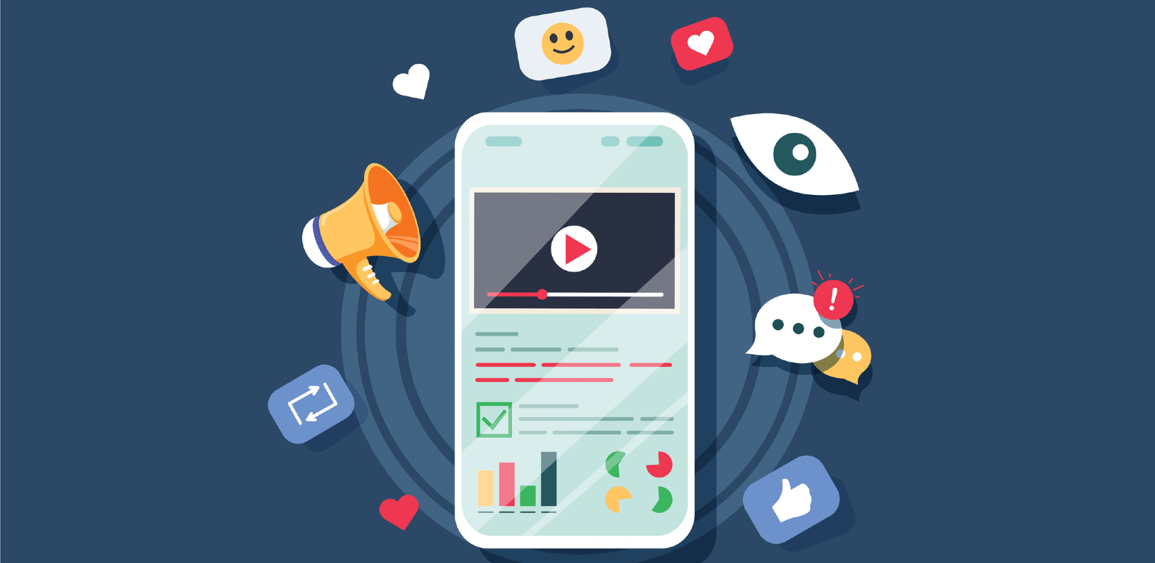 a cell phone surrounded by various icons like a chat bubble, a megaphone, and social media like graphics