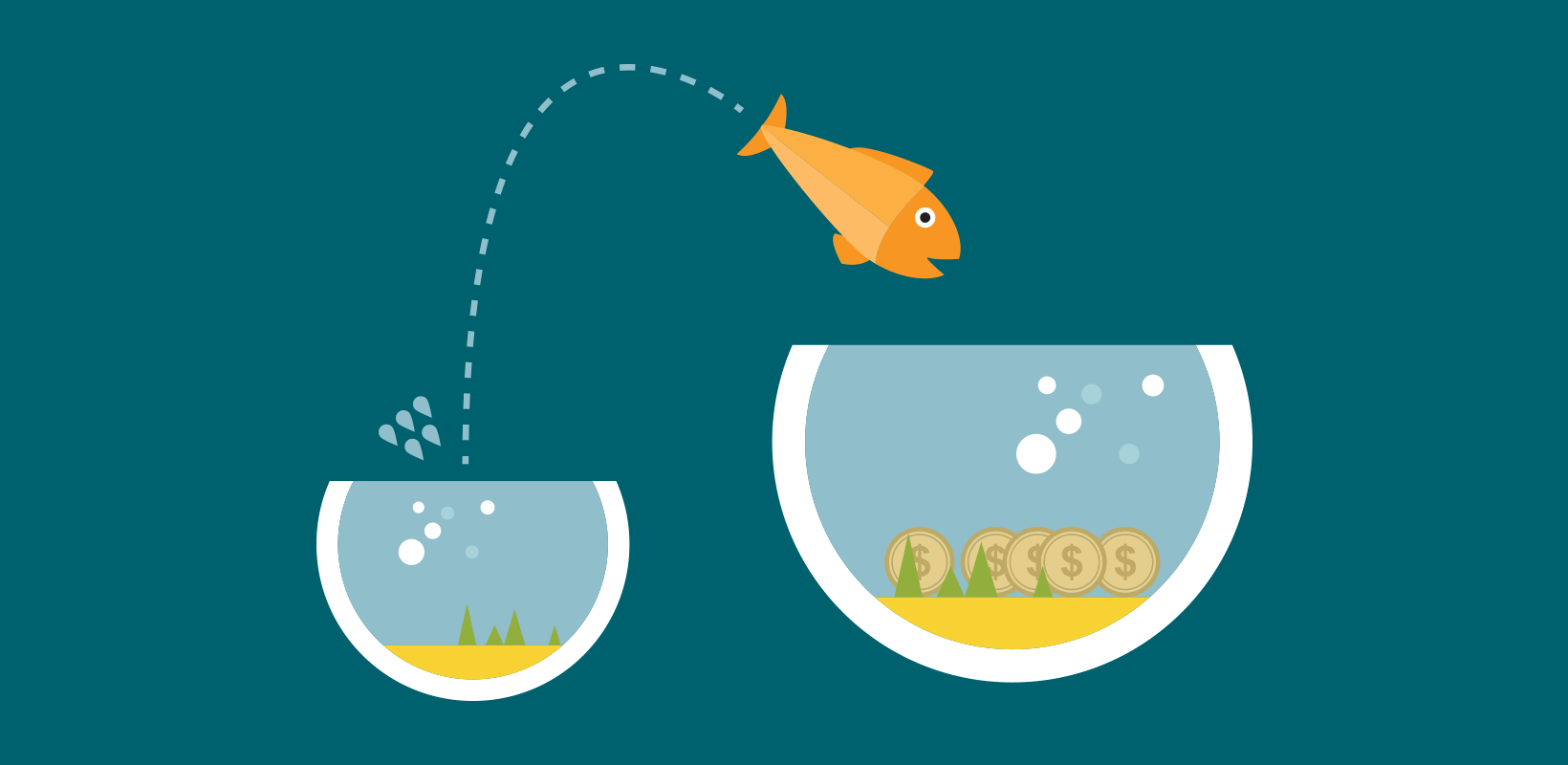 How to optimize a nonprofit website - image of a fish jumping frmo a small bowl into a bigger, better bowl