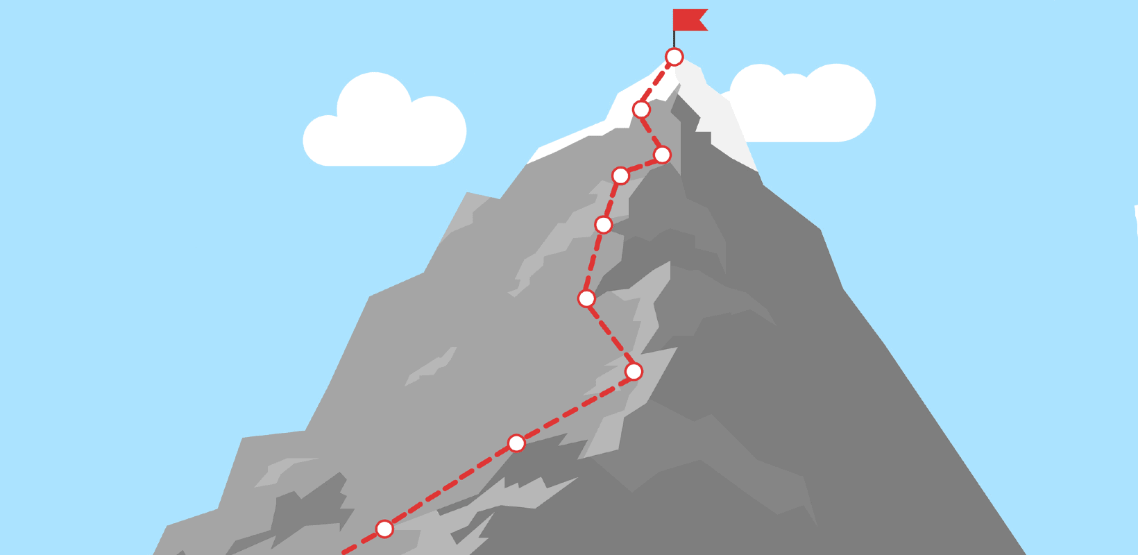 Illustration of a mountain with a flag planted at the top.