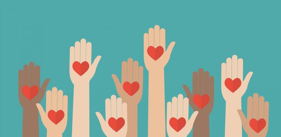 Illustration of many raised hands holding heart symbols