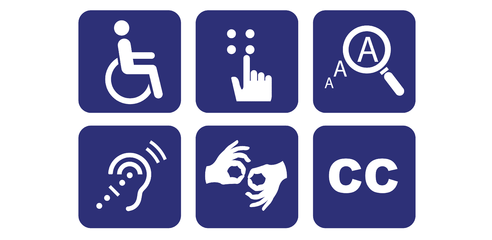 accessibility icons including a person in a wheelchair, a hand touching Braille, magnified type, hearing aid, sign language, and