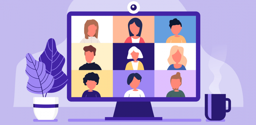 Nine people on a video screen in classic video chat grid format