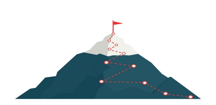 Image of a mountaintop with a red dotted line leading from the bottom to the top where a red flag is planted.