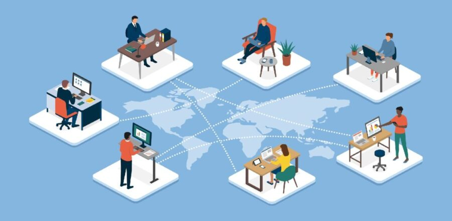 Image of seven people in separate workspaces from around the world as represented by a light blue map underneath their images.