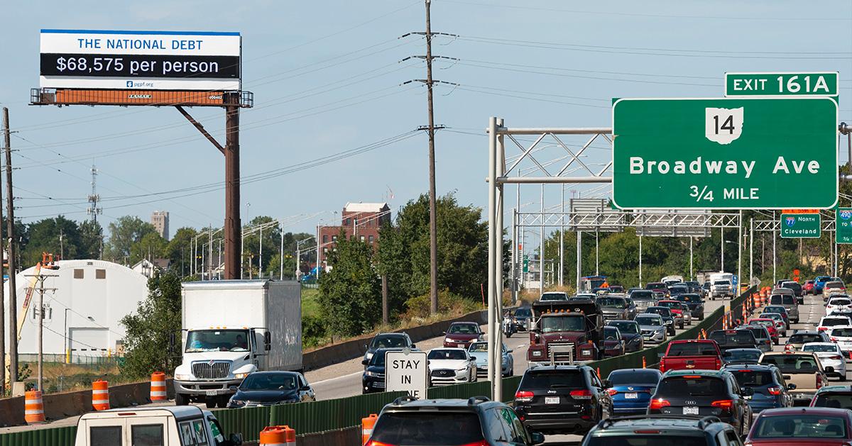 Cleveland debt clock billboard