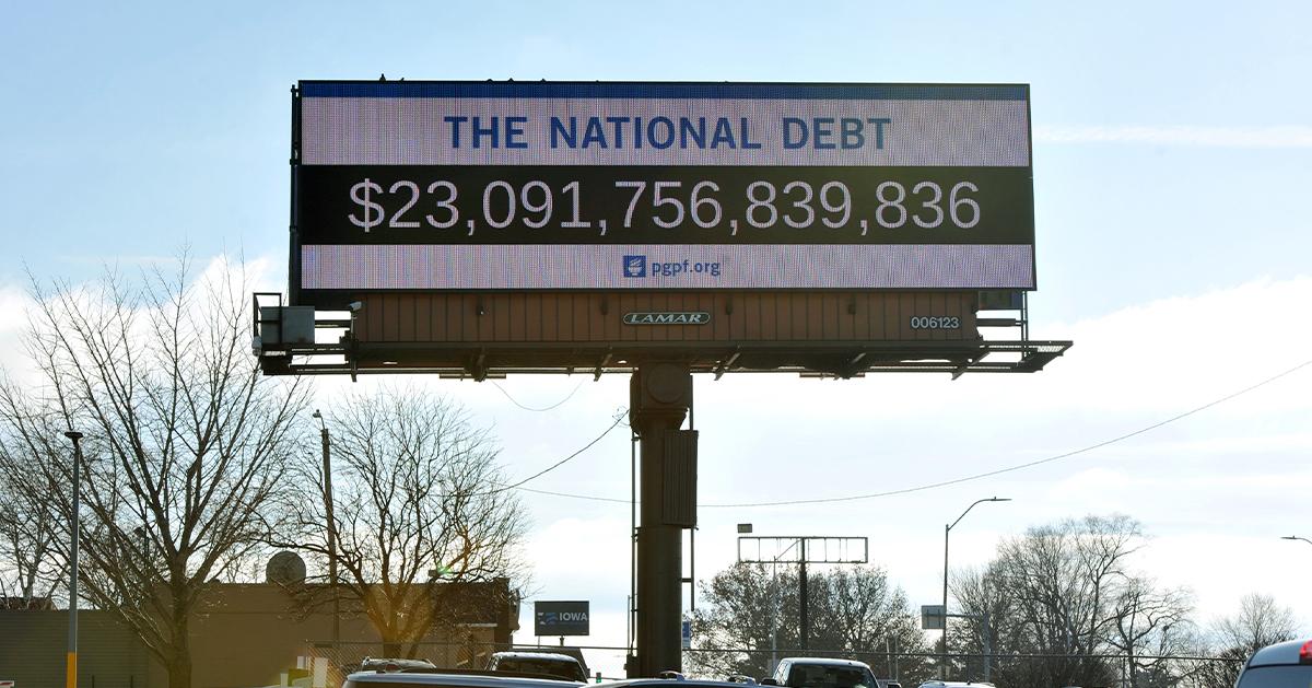 Des Moines debt clock billboard